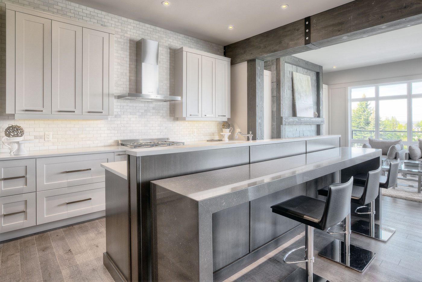 Dramatic two-toned kitchen that's sleek, modern and urban, available at Superior Cabinets