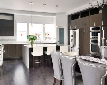Sleek, Modern, Urban Kitchen in a dark cabinetry finish, available at Superior Cabinets