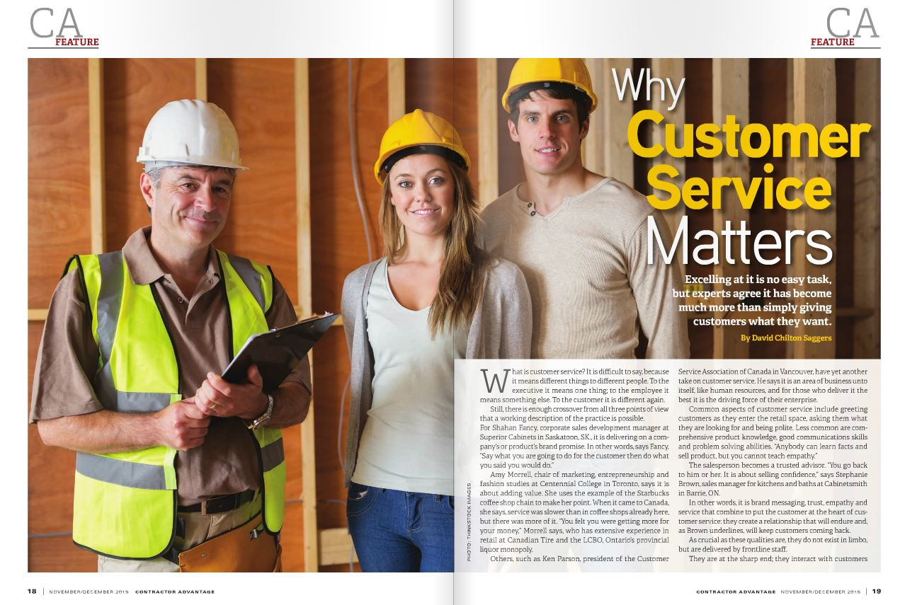 <h1>SUPERIOR CABINETS EDITORIAL FEATURE:  WHY CUSTOMER SERVICE MATTERS by David Chilton Saggers</h1>
