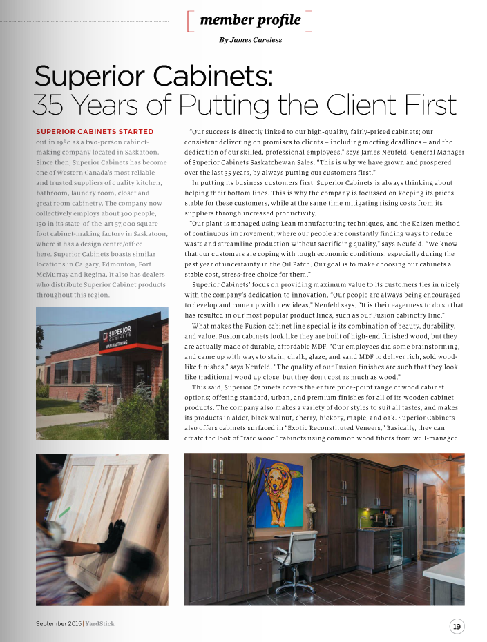 <h1>SUPERIOR CABINETS EDITORIAL FEATURE:  Superior Cabinets 35 Years of Putting the Client First</h1>