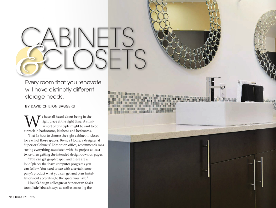 "<h1>SUPERIOR CABINETS EDITORIAL FEATURE:  CABINETS & CLOSETS, EVERY ROOM THAT YOU RENOVATE WILL HAVE DISTINCTLY DIFFERENT STORAGE NEEDS"" by David Chilton Saggers</h1>"
