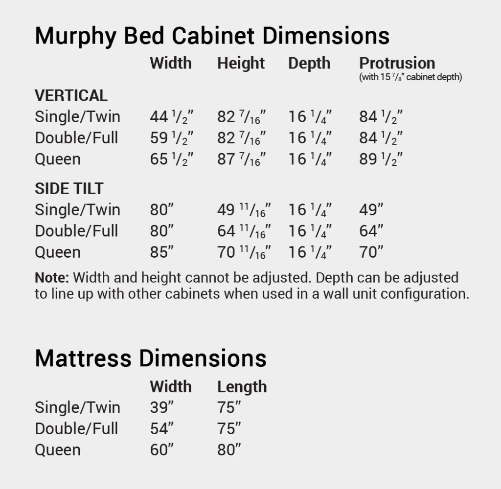 Murphy Wall Bed Sizes