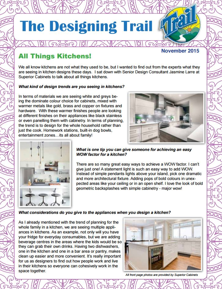 <h1>SUPERIOR CABINETS EDITORIAL FEATURE:  THE DESIGN TRAIL – ALL THINGS KITCHENS! by Amber Desilets</h1>