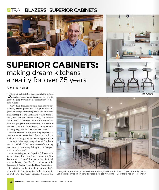 <h1>SUPERIOR CABINETS EDITORIAL FEATURE:  SUPERIOR CABINETS: MAKING DREAM KITCHENS A REALITY FOR OVER 35 YEARS</h1>