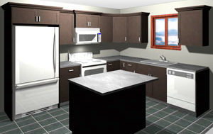 Rendering of an L Shaped Kitchen with Island, average kitchen cost $5,000 and under in dark maple stain, available at Superior Cabinets. Generated with 20-20 Technologies kitchen design software.
