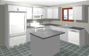 Rendering of an L Shaped Kitchen with Island, average kitchen cost $5,000 and under in textured white MDF, available at Superior Cabinets. Generated with 20-20 Technologies kitchen design software.
