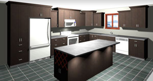 Rendering of an L Shaped Kitchen with Island, average kitchen cost $5,000-$10,000 and under in dark maple stain, available at Superior Cabinets. Generated with 20-20 Technologies kitchen design software.