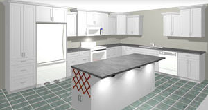 Rendering of an L Shaped Kitchen with Island, average kitchen cost $5,000-$10,000 and under in textured white MDF, available at Superior Cabinets. Generated with 20-20 Technologies kitchen design software.