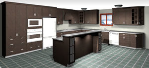 Rendering of an L Shaped Kitchen with Island, average kitchen cost $10,000-$15,000 and under in dark maple stain, available at Superior Cabinets. Generated with 20-20 Technologies kitchen design software.