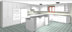 Rendering of an L Shaped Kitchen with Island, average kitchen cost $10,000-$15,000 and under in textured white MDF, available at Superior Cabinets. Generated with 20-20 Technologies kitchen design software.