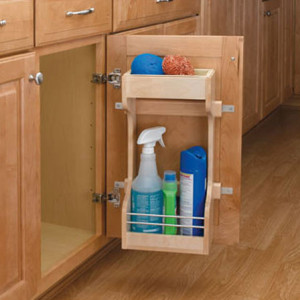 Wood under sink storage cabinet accessories available at Superior Cabinets.