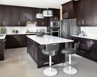 Dark brown traditional kitchen available at Superior Cabinets.