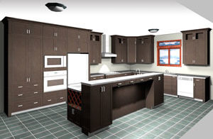 Rendering of an L Shaped Kitchen with Island, average kitchen cost $15,000-$20,000 and under in dark maple stain, available at Superior Cabinets. Generated with 20-20 Technologies kitchen design software.