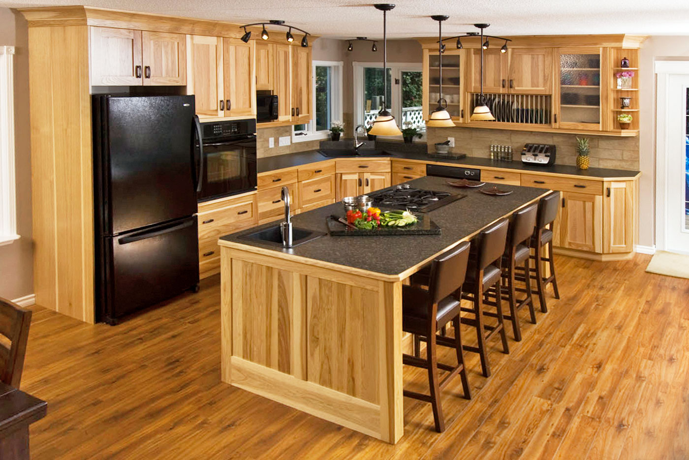 Natural Hickory wood kitchen by Superior Cabinets
