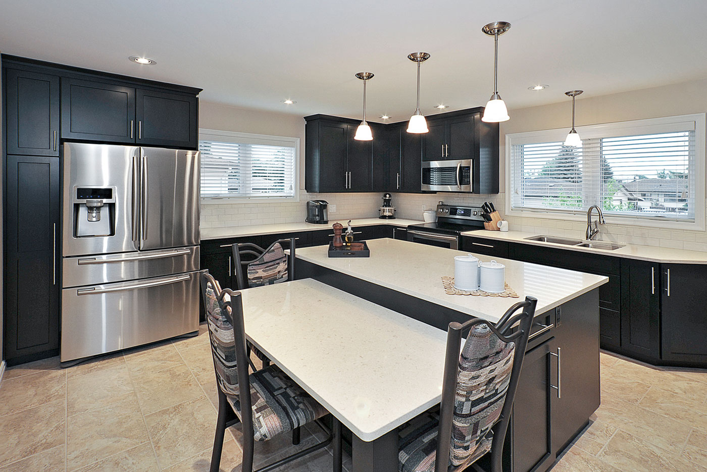 Dark brown kitchen cabinets by Superior Cabinets