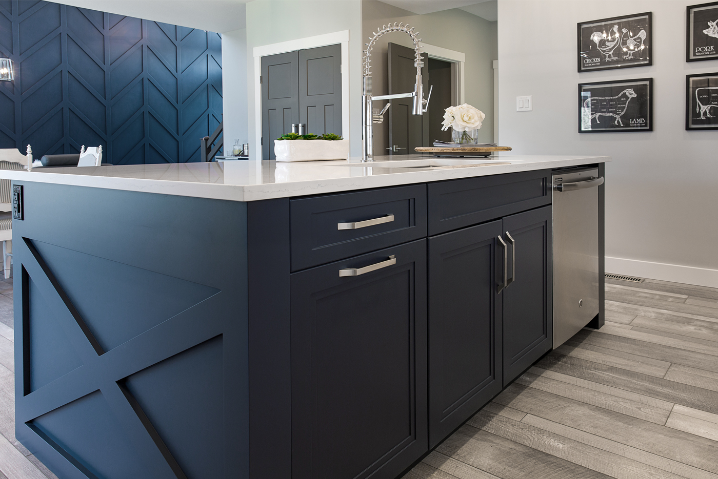 navy kitchen cabinet design