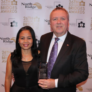 Russ Walsh, Senior Account Representative of Superior Cabinets was presented with the Association Ambassador Award - Supplier Member at the 26th Annual Saskatoon and Region Home Builders' Association Bridges Awards on February 10th, 2018 at TCU Place in Saskatoon, Saskatchewan. Also in the photo is Russell's Wife Noon.