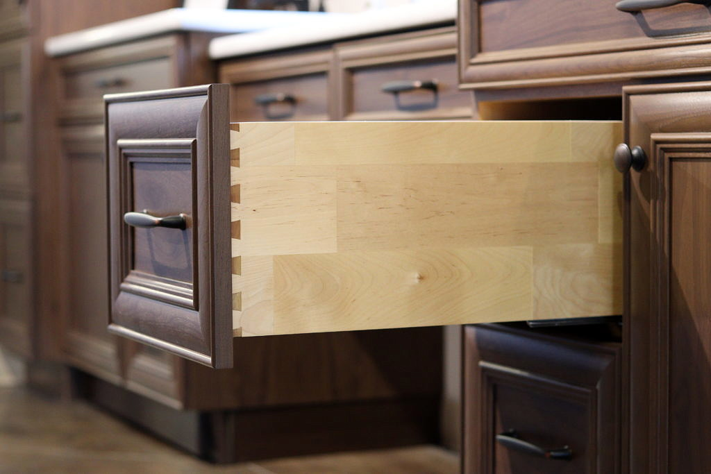 Finger jointed solid birch wood dovetail drawer box by Superior Cabinets.