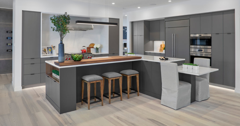A photo of a minimalistic kitchen superior cabinets from project LAMIA, as part of the Superior Cabinets 2021 kitchen cabinet trends predictions.