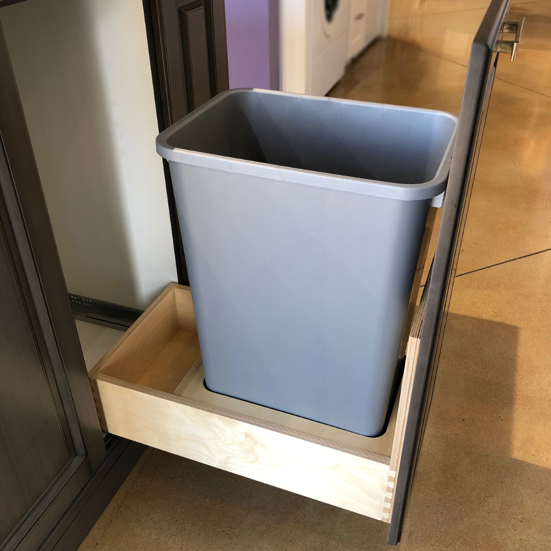 1 Bin Lateral Birch Plywood Garbage Pull Out With Soft Close