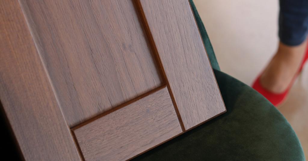 Cabinet door in Black Walnut Wood in an Autumn Stain. Spring into Autumn – New Wood Stains blog by Superior Cabinets Saskatoon, Regina, Calgary, Edmonton, Winnipeg. Author – Shahan Fancy