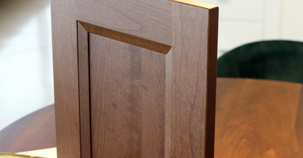 Cabinet door in Cherry Wood in an Autumn Stain. Spring into Autumn – New Wood Stains blog by Superior Cabinets Saskatoon, Regina, Calgary, Edmonton, Winnipeg. Author – Shahan Fancy
