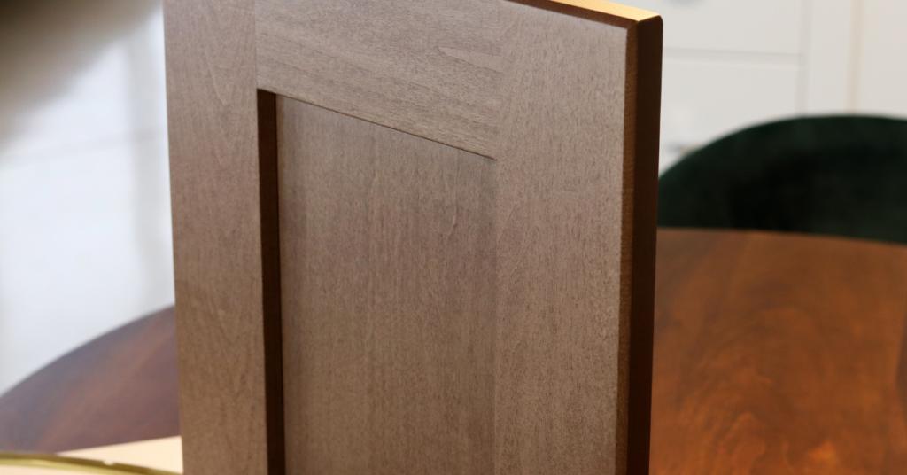 Cabinet door in Maple Wood in an Autumn Stain. Spring into Autumn – New Wood Stains blog by Superior Cabinets Saskatoon, Regina, Calgary, Edmonton, Winnipeg. Author – Shahan Fancy