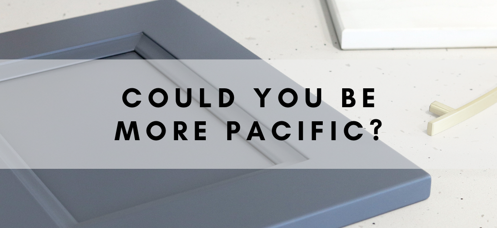 Blog: Could You Be More Pacific? Introducing Fusion Pacific, a new painted blue grey cabinet finish By Superior Cabinets Saskatoon, Regina, Calgary, Edmonton, Winnipeg. Author – Shahan Fancy.