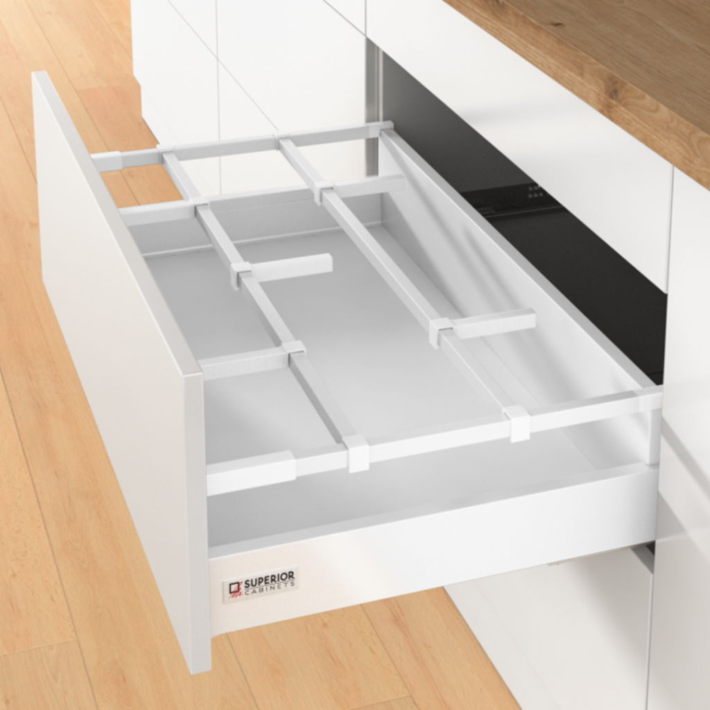 orgastore basic drawer insert by superior cabinets in white, also know as the hettich atira system