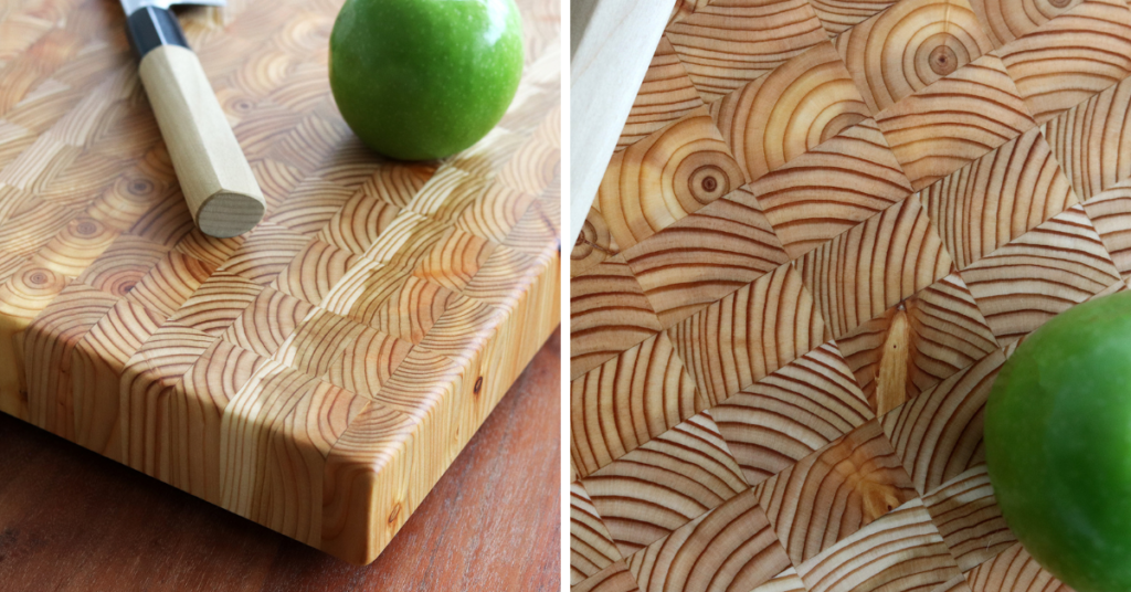 Premium handcrafted professional Large Cutting Board in Larch Wood by Larch Wood Canada, Cape Breton Island. Photo Credit – Shahan Fancy