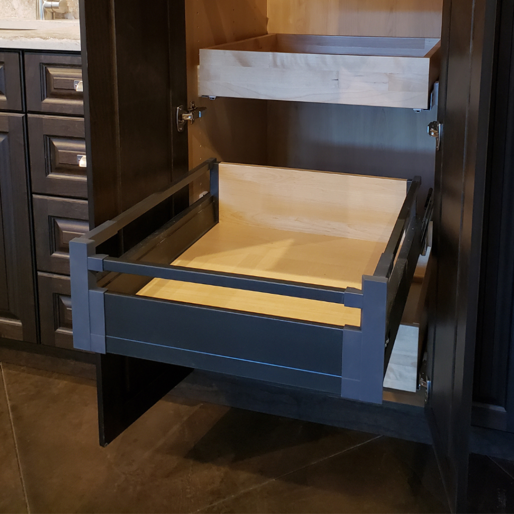 pinnacle deep roll out shelf drawer in anthracite black by superior cabinets, also known as the Hettich Atira Drawer System