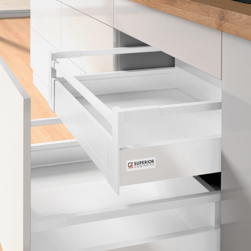 pinnacle deep roll out shelf drawer in white by superior cabinets, also known as the Hettich Atira Drawer System