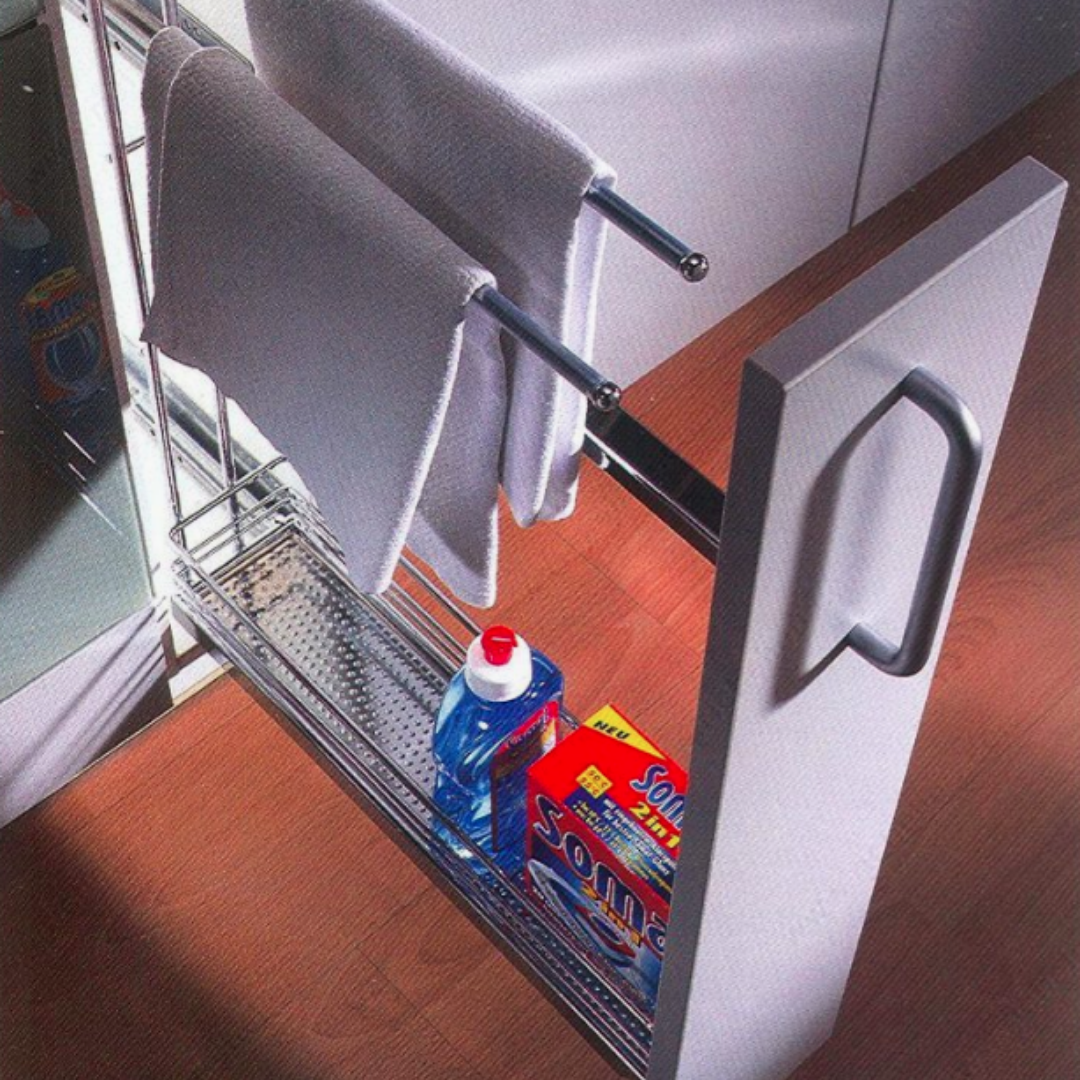 Pull-Out Towel Rack and Storage Unit
