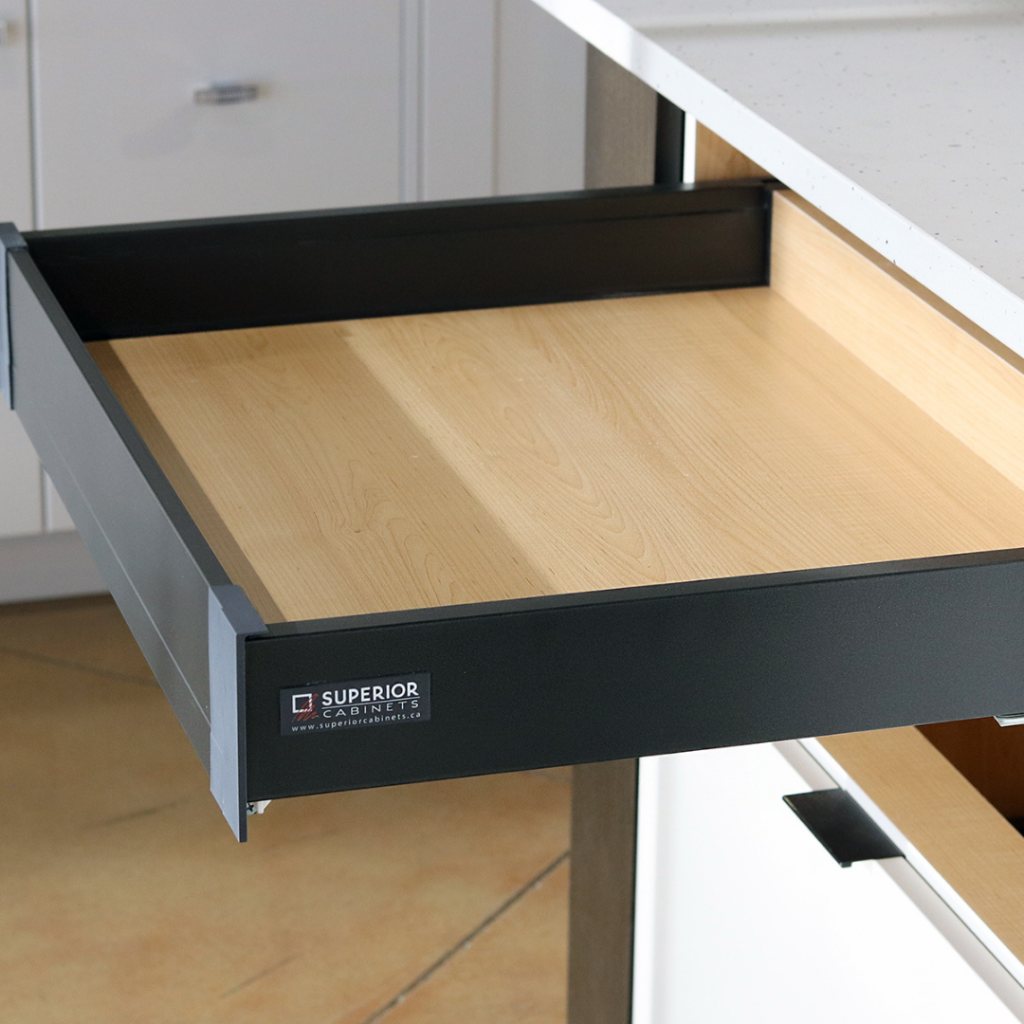 small-rollout-pinnacle-anthracite-black-superior-cabinets also known as the Hettich Atira Drawer System