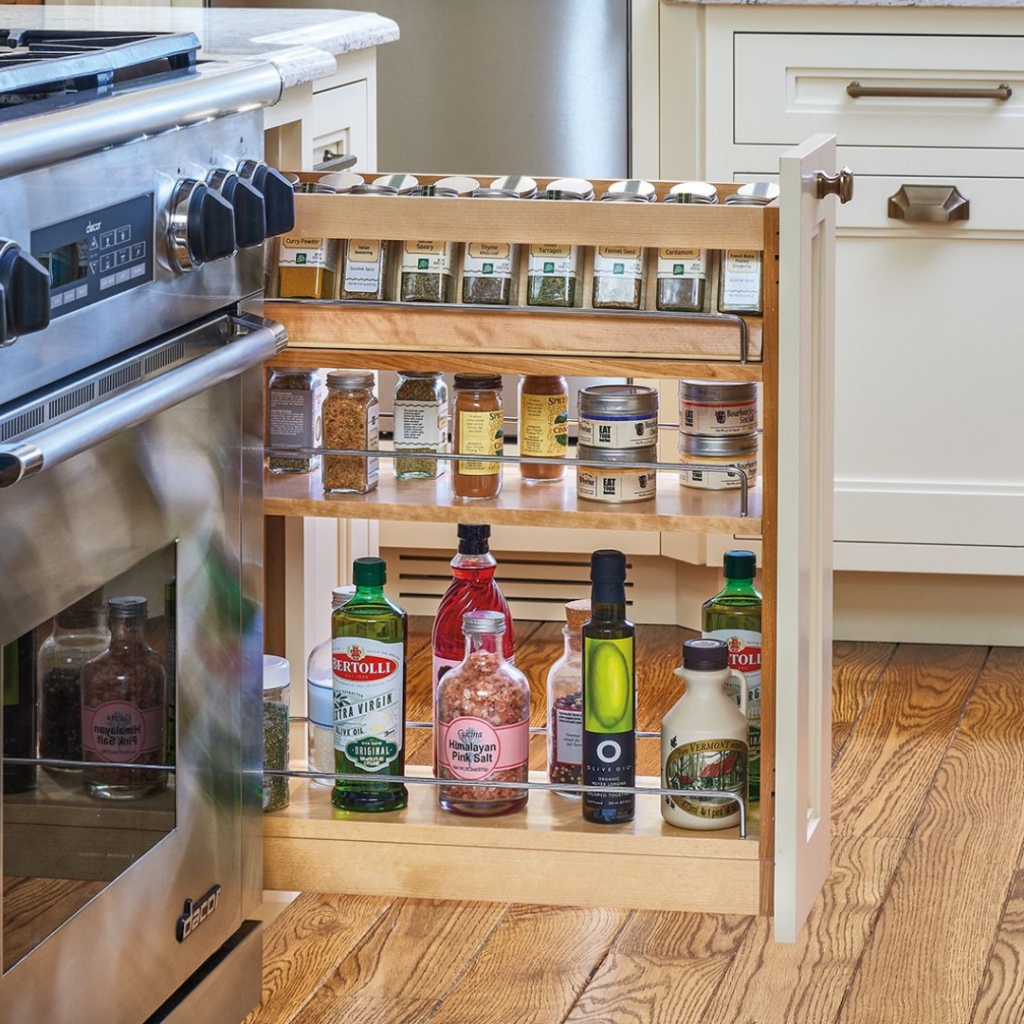 wood base pull out storage unit with soft close by superior cabinets