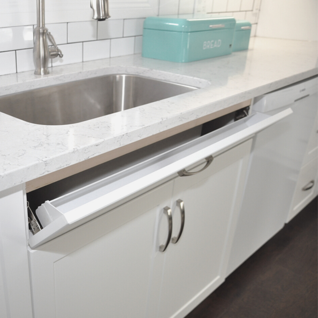 Slimline SOS Tip-Out Tray for Base Sink Cabinet by Superior Cabinets White Acrylic