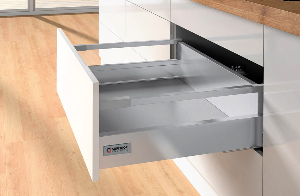 Silver/Grey Atira Quantum drawer by Superior Cabinets, made by Hettich.